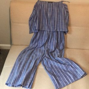 Pants - NWOT Chambray Romper in lightweight cotton fabric